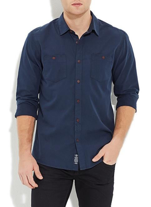 Mavi Gömlek | Yarı Dar Kalıp Lacivert